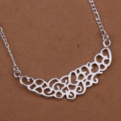 Vienna Jewelry Sterling Silver Laser Cut Curved Large Emblem Necklace - Thumbnail 0