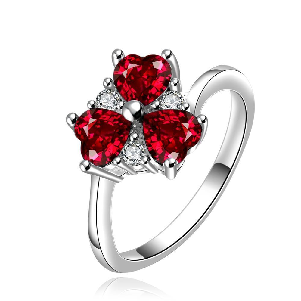 Vienna Jewelry Sterling Silver Trio-Ruby Red Gem Clover Petite Ring Size: 8