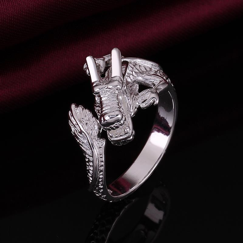 Vienna Jewelry Sterling Silver Magical Dragon Design Petite Resizable Ring