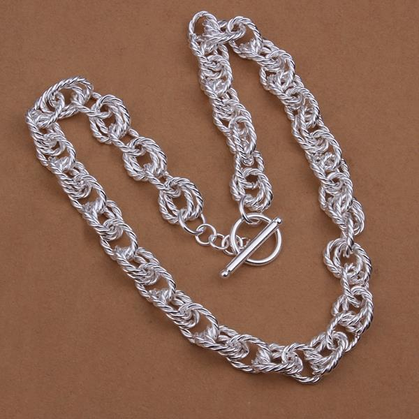 Vienna Jewelry Sterling Silver Multi Chain Open Clasp Necklace