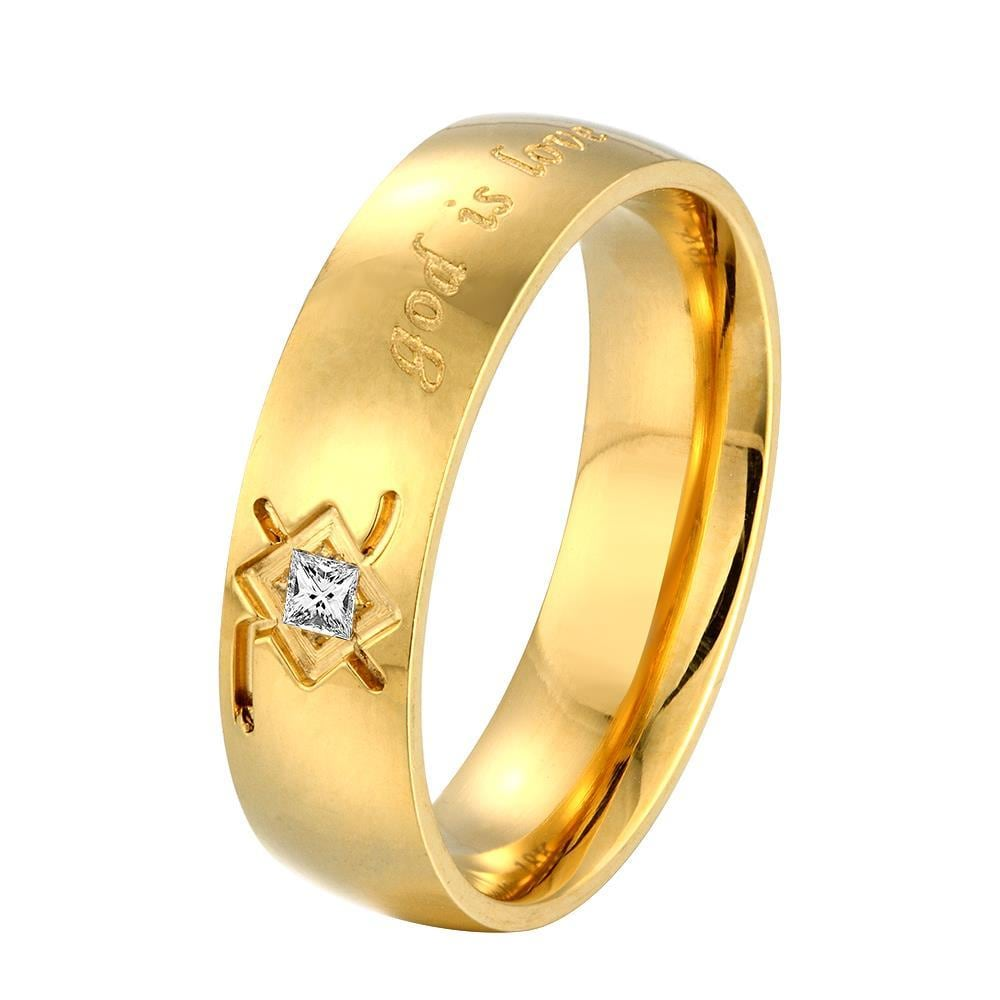 Vienna Jewelry God Is Love Wedding Band Size: 9