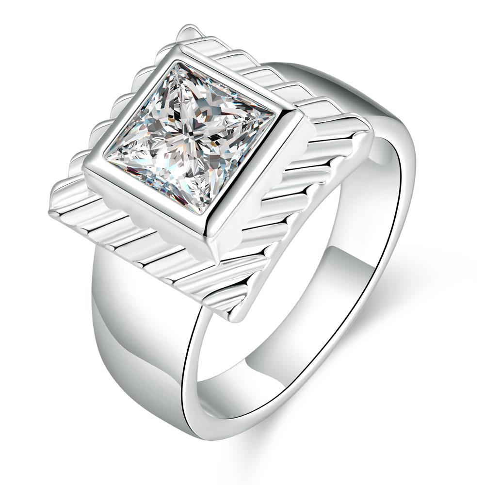 Vienna Jewelry Sterling Silver Petite Square Crystal Modern Ring Size: 8