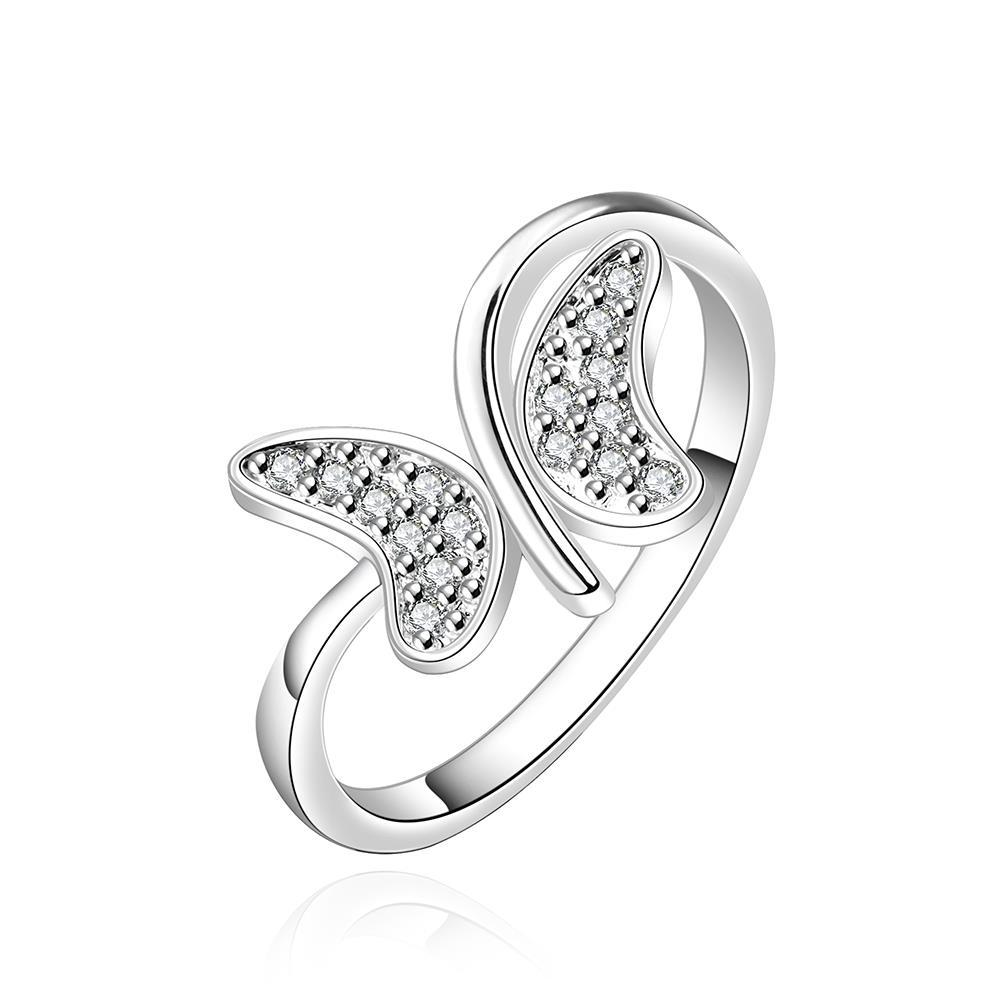 Vienna Jewelry Sterling Silver Swirl Butterfly Petite Ring Size: 8