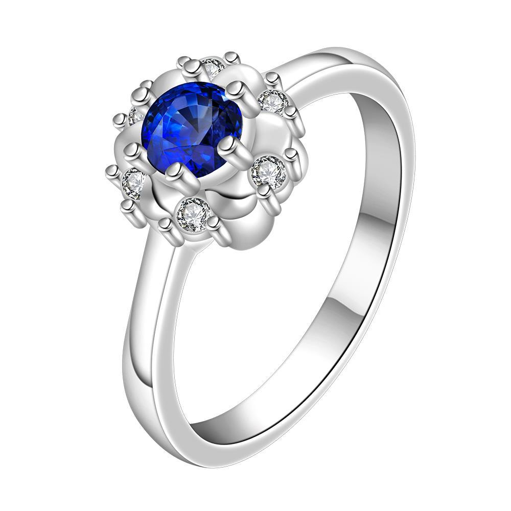 Vienna Jewelry Mock Sapphire Floral Design Petite Ring Size: 8