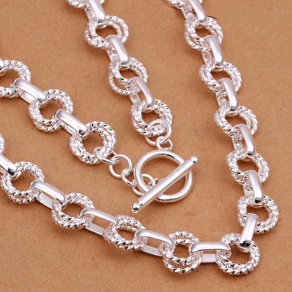 Vienna Jewelry Sterling Silver Interlocked Chain Necklace