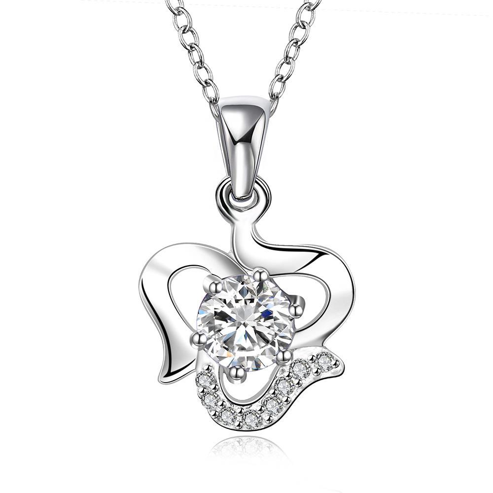 Vienna Jewelry Sterling Silver Curved Heart with Classic Crystal Necklace