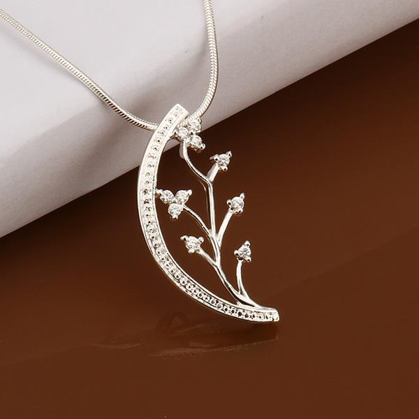 Vienna Jewelry Sterling Silver Blossoming Orchid Emblem Necklace