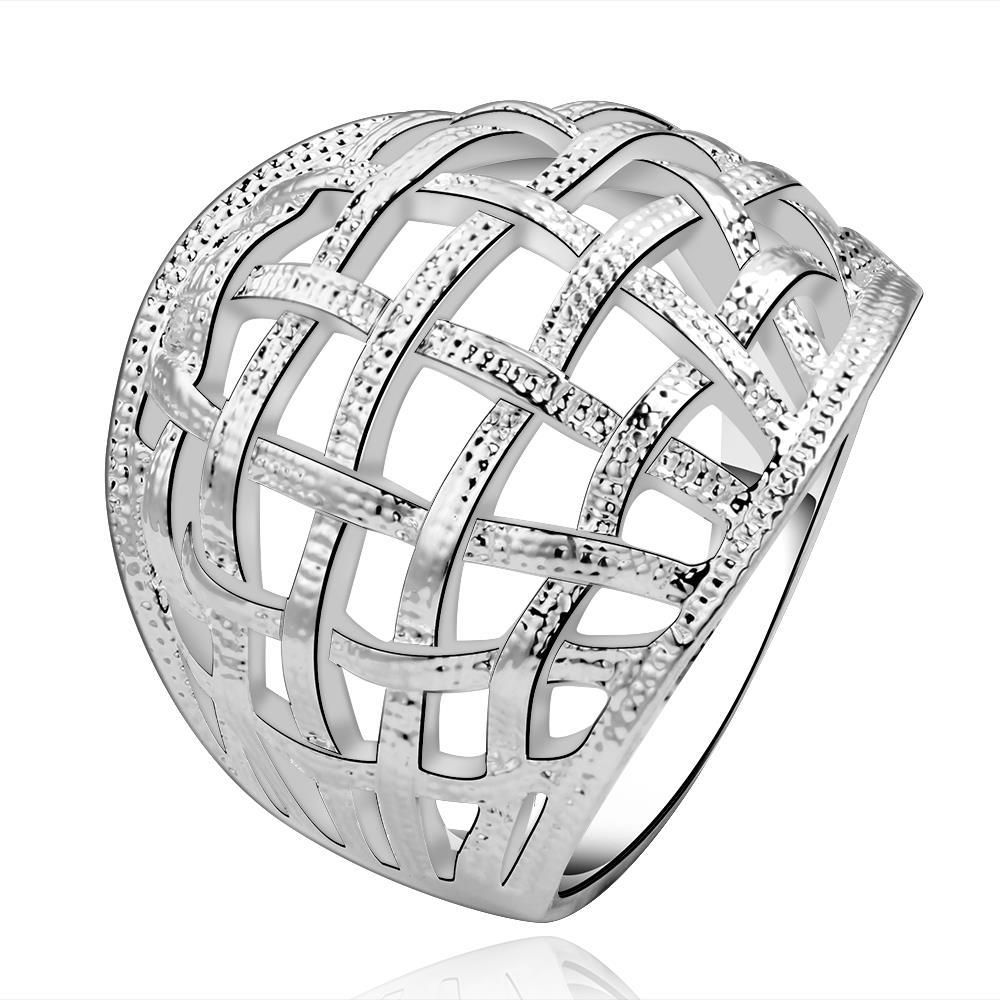 Vienna Jewelry Sterling Silver Multi-Laser Cut Ring Size: 7