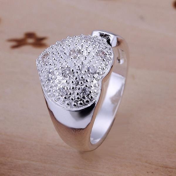 Vienna Jewelry Beaded Heart Shaped Sterling Silver Petite Resizable Ring