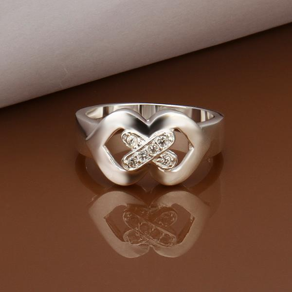 Vienna Jewelry Sterling Silver Duo-Heart Shaped Petite Ring Size: 8