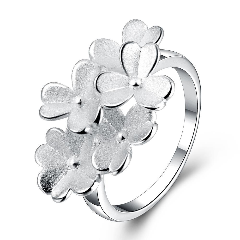 Vienna Jewelry Sterling Silver Multi-Clover Charm Petite Ring Size: 7