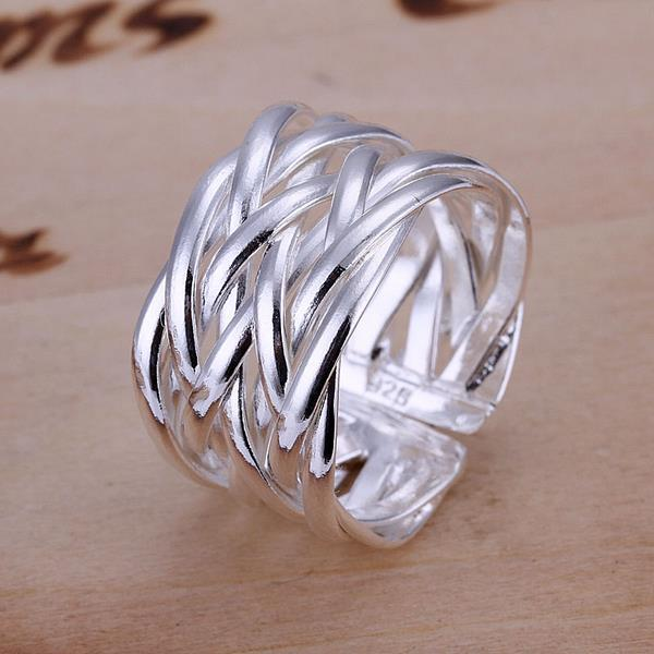 Vienna Jewelry Sterling Silver Interlocked Lined Resizable Ring - Thumbnail 0