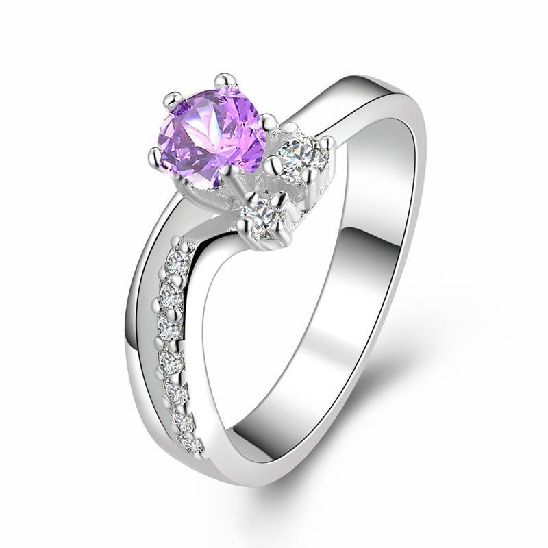 Vienna Jewelry Twin Gems Purple Citrine Curved Petite Ring Size: 8