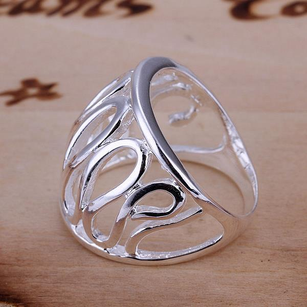 Vienna Jewelry Sterling Silver Curved Angular Laser Cut Ring Size: 8