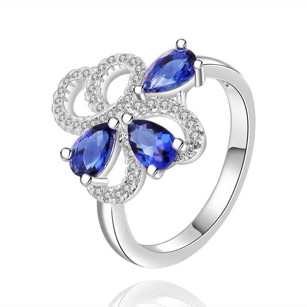 Vienna Jewelry Sterling Silver Trio-Mock Sapphire Swirl Ring Size: 8