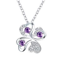 Vienna Jewelry Mock Purple Citrine Clover Pendant Drop Necklace - Thumbnail 0
