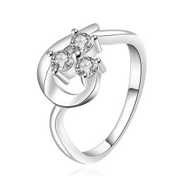 Vienna Jewelry Sterling Silver Trio-Jewels Curved Abstract Petite Ring Size: 7 - Thumbnail 0