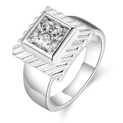 Vienna Jewelry Sterling Silver Petite Square Crystal Modern Ring Size: 8 - Thumbnail 0
