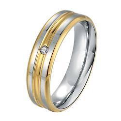 Vienna Jewelry Sterling Silver Muli Layered Gold Petite Jewel Band Size: 7 - Thumbnail 0