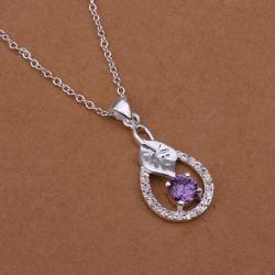 Vienna Jewelry Sterling Silver Purple Citrine Drop Emblem Necklace - Thumbnail 0