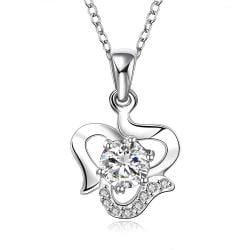 Vienna Jewelry Sterling Silver Curved Heart with Classic Crystal Necklace - Thumbnail 0
