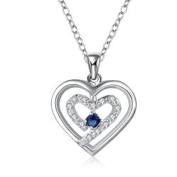 Vienna Jewelry Sterling Silver Petite Mock Sapphire Curved Heart Design Necklace - Thumbnail 0