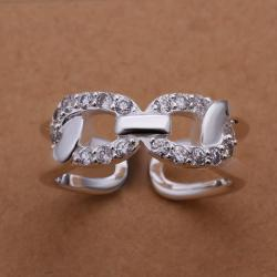 Vienna Jewelry Sterling Silver CZ Inline Swirl Ring Size: 8 - Thumbnail 0