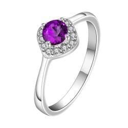 Vienna Jewelry Petite Purple Citrine Gem Classic Ring Size: 8 - Thumbnail 0