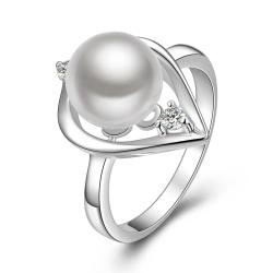 Vienna Jewelry Sterling Silver Mid Size Pearl Insert Ring Size: 8 - Thumbnail 0