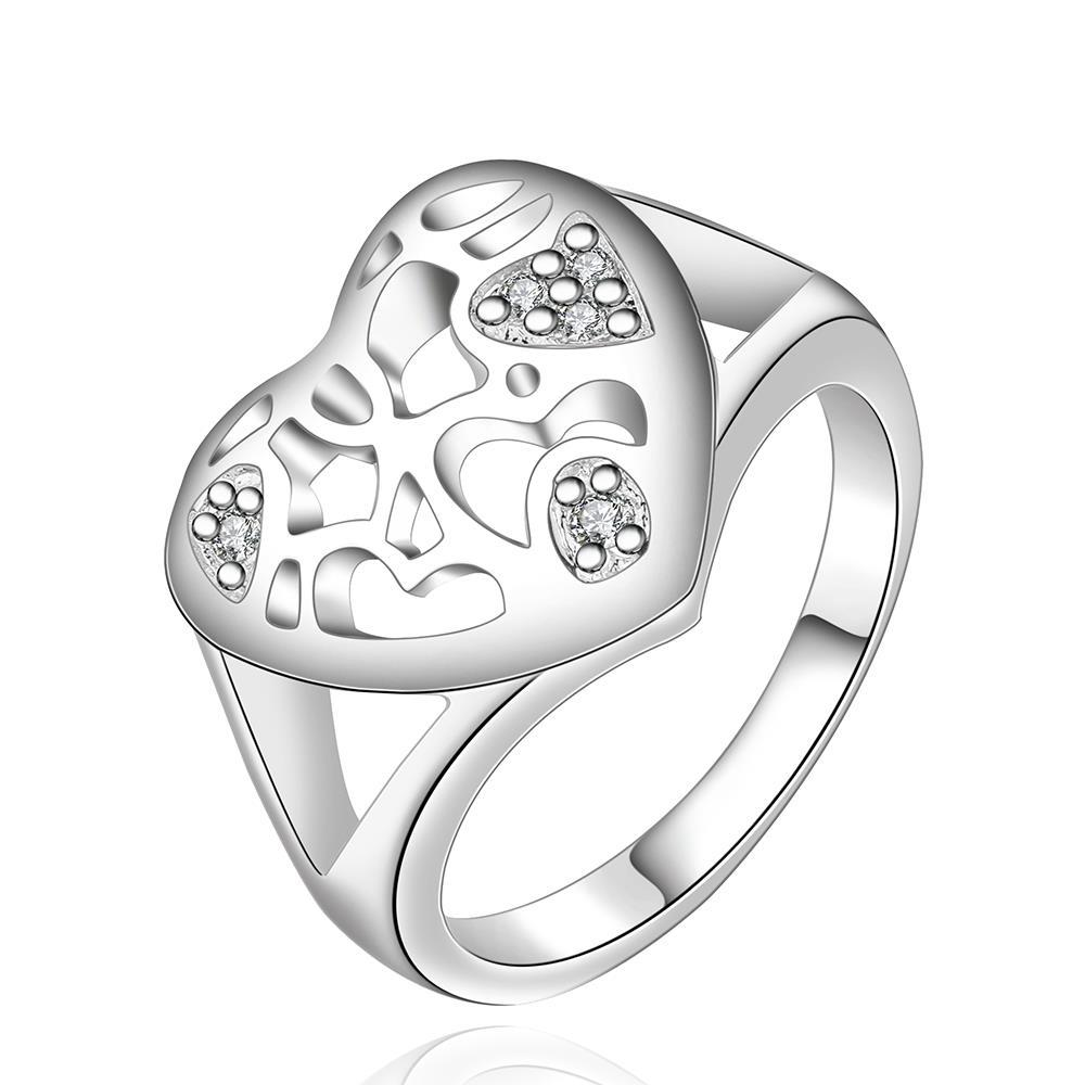 Vienna Jewelry Sterling Silver Laser Cut Heart Shaped Ring Size: 8