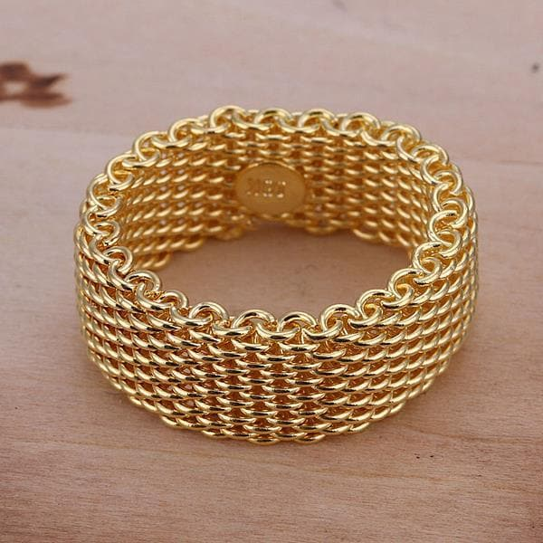 Vienna Jewelry Gold Sterling Silver Classic Mesh Ring Size: 8