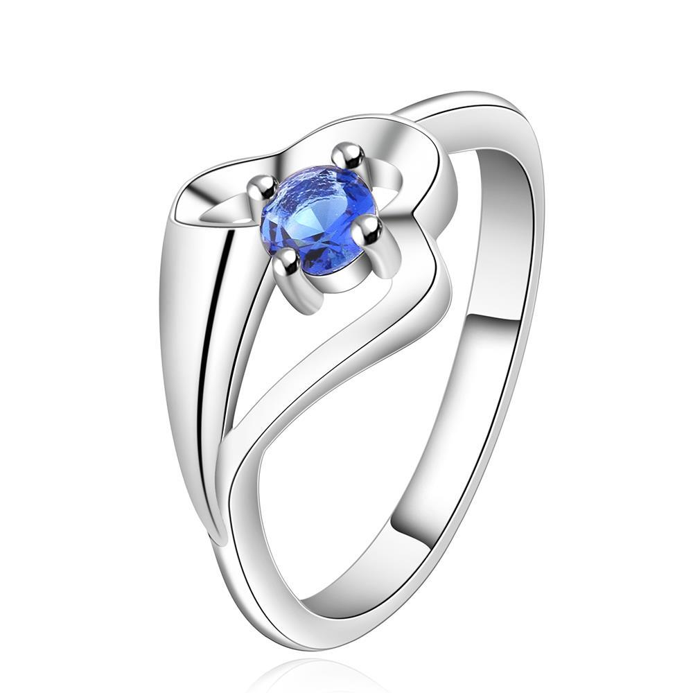 Vienna Jewelry Sterling Silver Mock Sapphire Abstract Curved Petite Ring Size: 7
