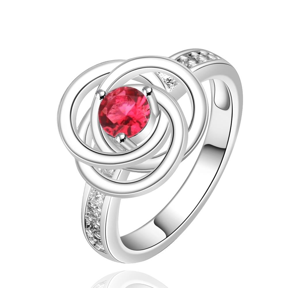 Vienna Jewelry Sterling Silver Ruby Red Swirl Emblem Ring Size: 8