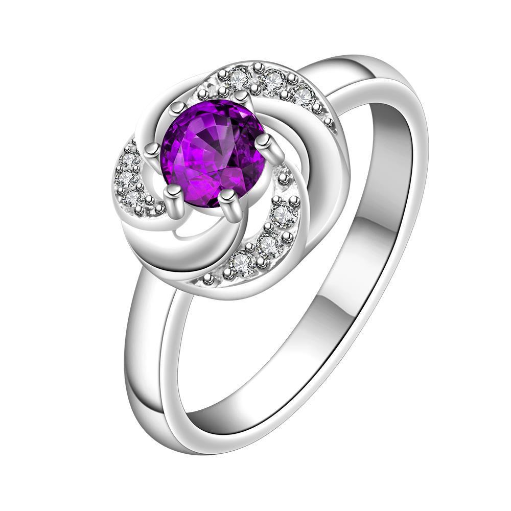 Vienna Jewelry Purple Citrine Swirl Design Petite Ring Size: 8