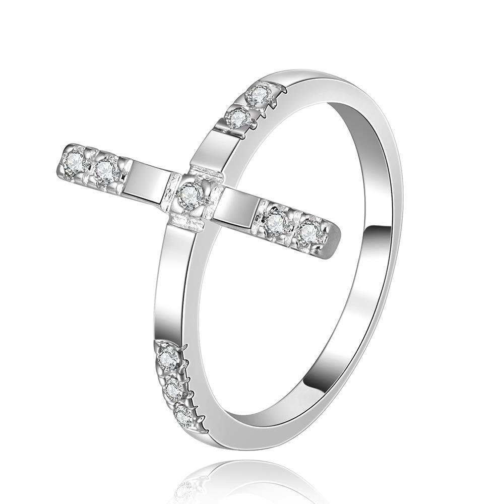 Vienna Jewelry Sterling Silver Horizontal Lined Jewels Covering Ring Size: 8