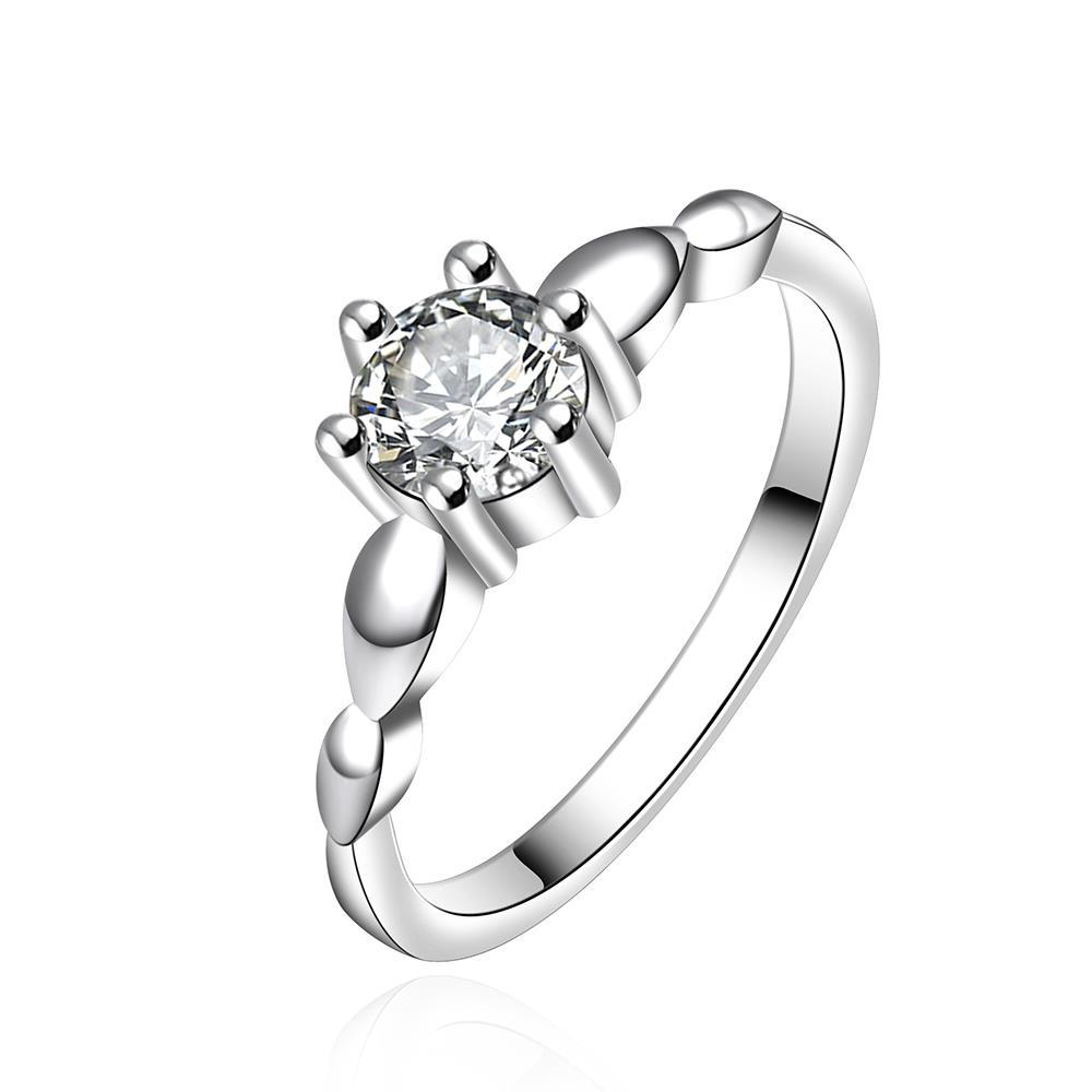 Vienna Jewelry Sterling Silver Curved Crystal Petite Ring Size: 8