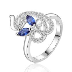 Vienna Jewelry Sterling Silver Swirl Abstract Mock Sapphire Petite Ring Size: 8 - Thumbnail 0