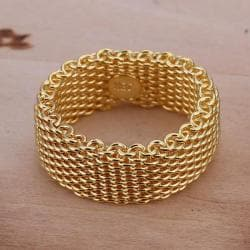 Vienna Jewelry Gold Sterling Silver Classic Mesh Ring Size: 8 - Thumbnail 0
