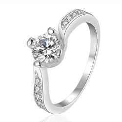 Vienna Jewelry Sterling Silver Classical Curved Jewels Ring Size: 8 - Thumbnail 0