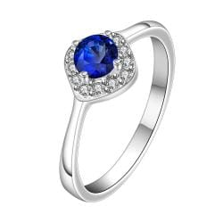 Vienna Jewelry Petite Mock Sapphire Gem Classic Ring Size: 8 - Thumbnail 0