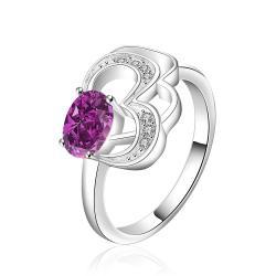 Vienna Jewelry Sterling Silver Purple Citrine Swirl Emblem Petite Ring Size: 8 - Thumbnail 0