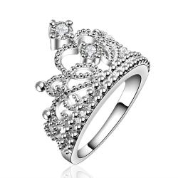 Vienna Jewelry Sterling Silver Curved Queen's Crown Ring Size: 8 - Thumbnail 0