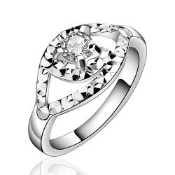 Vienna Jewelry Sterling Silver Crystal Emblem Petite Ring Size: 8 - Thumbnail 0