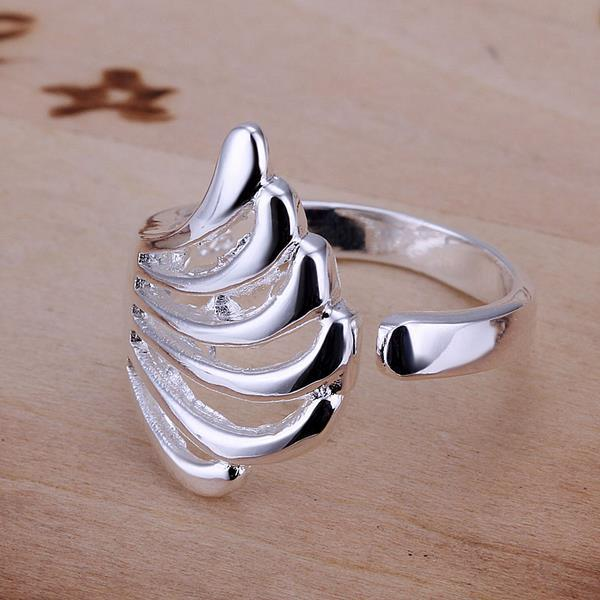 Vienna Jewelry Sterling Silver Abstract Seashell Emblem Resizable Ring