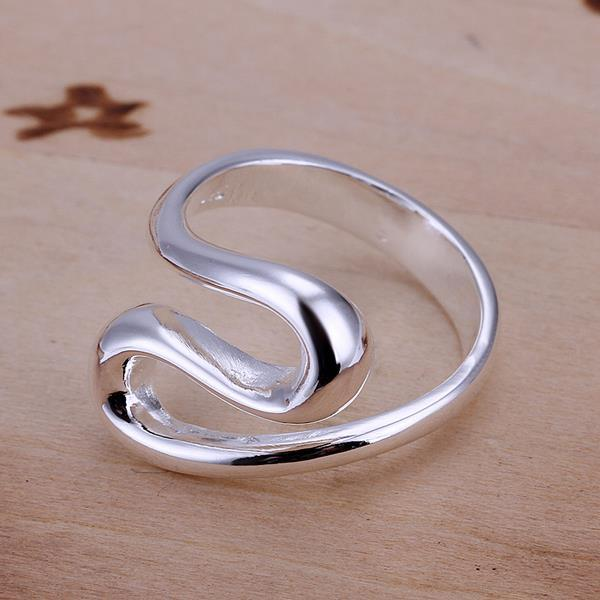 Vienna Jewelry Sterling Silver Curved Teardrop Petite Design Ring Size: 8