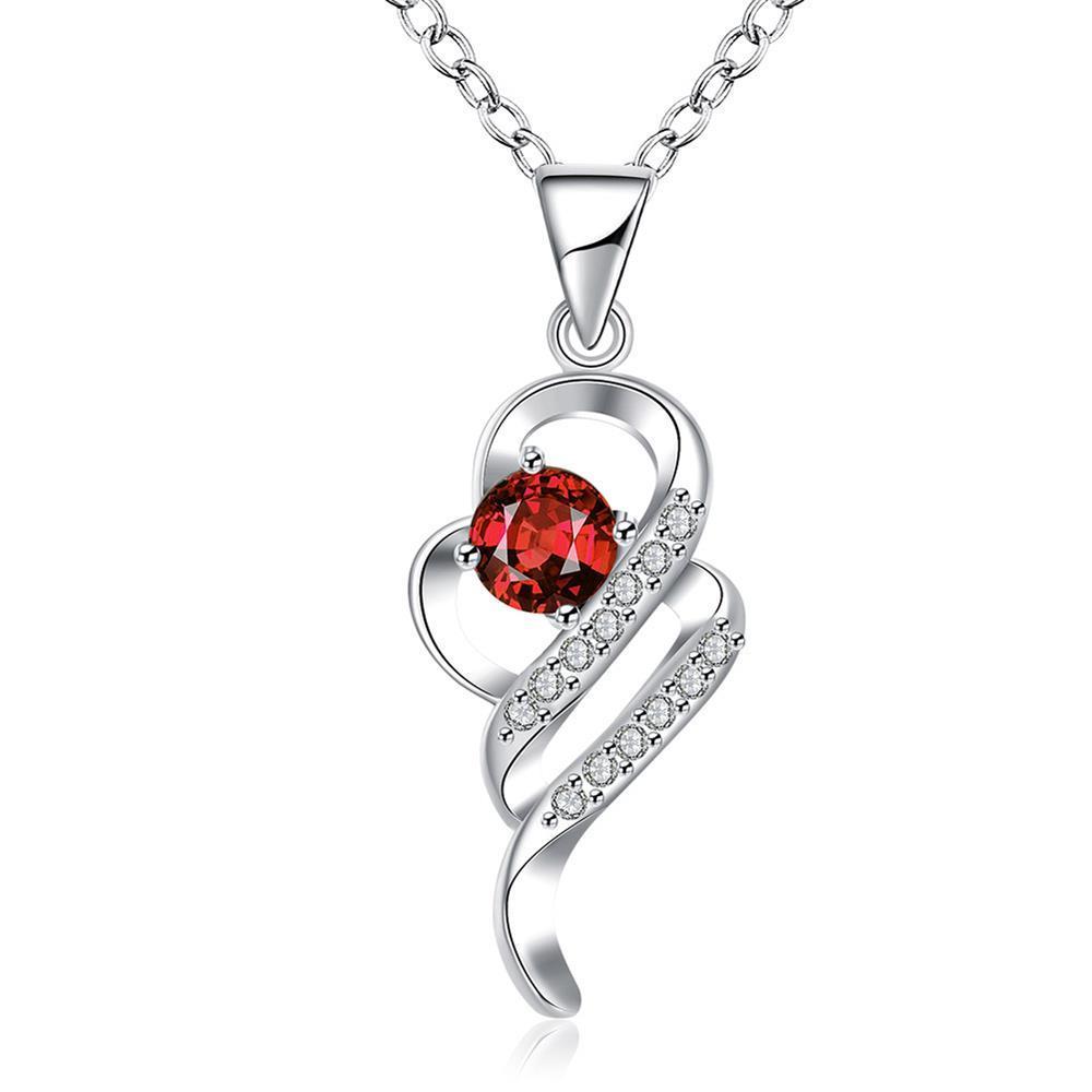Vienna Jewelry Ruby Red Spiral Emblem Drop Necklace