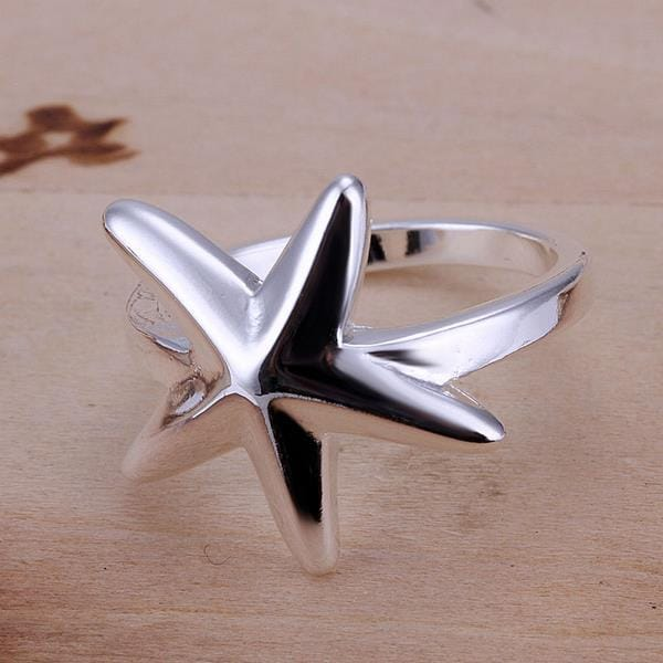 Vienna Jewelry Petite Sterling Silver Ring with Starfish Emblem Over Size: 8