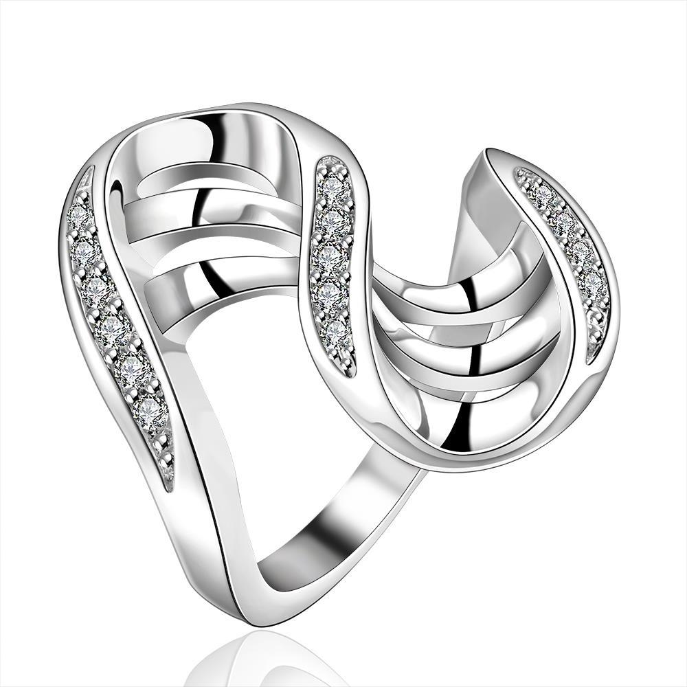 Vienna Jewelry Sterling Silver Multi Lined Curved Abstract Ring Size: 8