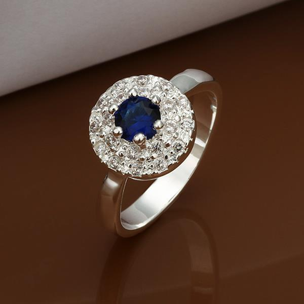 Vienna Jewelry Sterling Silver Petite Mock Sapphire Jewels Covering Ring Size: 8