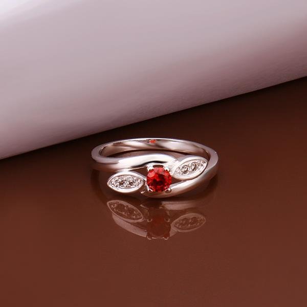 Vienna Jewelry Sterling Silver Petite Ruby Gem Insert Ring Size: 8